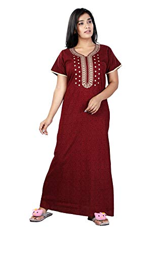 Bailey sells: Women's Cotton Embroidered Nightgown (Maroon)