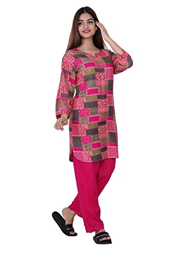 PIKKA Printed Pink Top and Pyjama for Premium Cotton Nightwear Set for Women/Ladies/Girls Wear Skin Friendly Material for Comfort and Sound Sleep. (XXL (Plus Size))